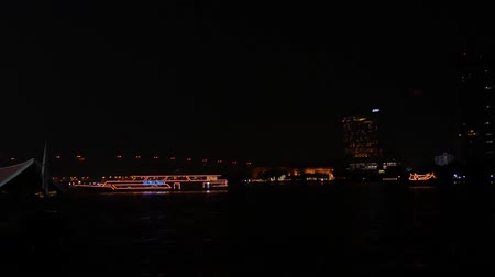 balsa : Bangkok, Thailand - January,11 2019 : Close up  light of Passenger ship on the river at Bangkok, Thailand.