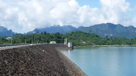 lanscape dam with moutain view