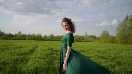 Young beautiful woman in a beautiful dress is standing in a field at sunset