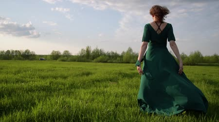Young beautiful woman in a beautiful dress walking around the field at sunset 動画素材