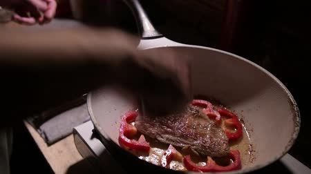Cooking raw steak on the pan 動画素材