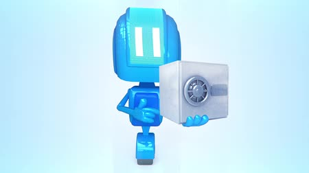 тайна : Blue robot with safe
