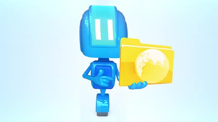 robot : Blue robot with folder