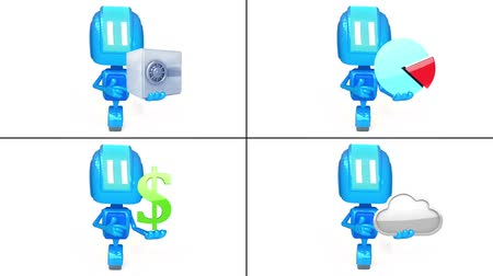 beyaz etnisite : 3D loop animation of blue robots with items on white background Stok Video