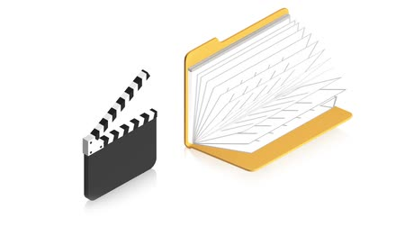 film slate : 3D animation of a simple objects for use in presentations, manuals, design, etc.