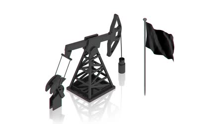 wiertarka : oil derrick with black flag