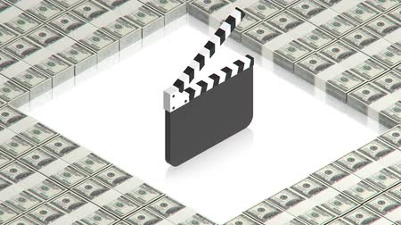 film slate : clapperboard with dollars