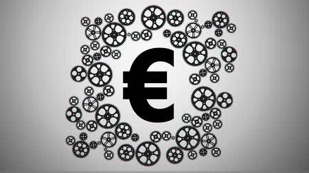 hiç kimse : Euro in gears animation for use in presentations, manuals, design, etc. Stok Video