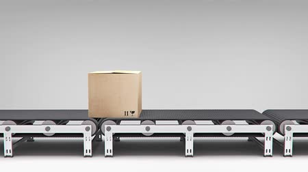 shipping : conveyor with carton animation for use in presentations, manuals, design, etc. Stock Footage