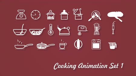 soup pans : Cooking Icons animation with alpha  for use in presentations, education manuals, design, etc.