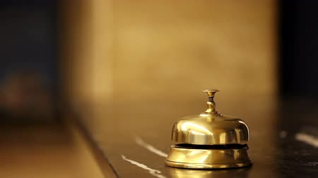 lobi : call at old hotel bell on a marble stand