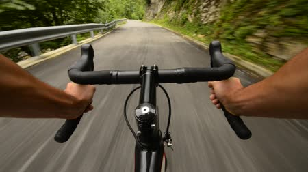 road : Road cycling wide angle speed shoot Stock Footage