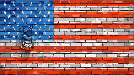 disintegration : Brick Wall USA flag with effects,  United States of America flag font with effects,  Font with the USA flag,  Flag crumble effect
