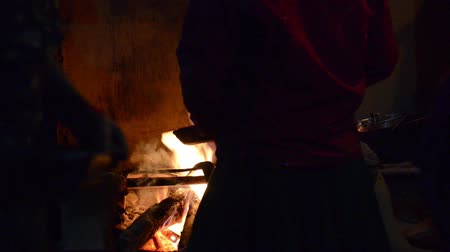 wood : Cooking on wood fire in a guesthouse kitchen in Nepal