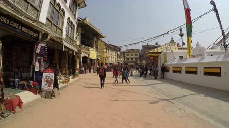 bodhnath : KATHMANDU, NEPAL - CIRCA FEBRUARY 2018: Walking around Boudhanath stupa. Boudhanath is a UNESCO World Heritage Site.