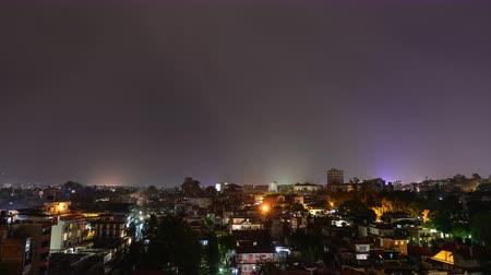 patan : Time-lapse of a night thunderstorm over Patan in the Kathmandu Valley, Nepal Stock Footage