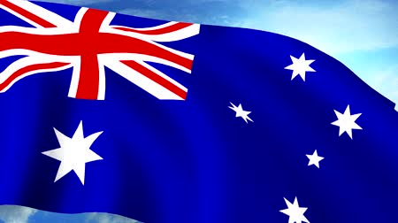 ausztrál : Australian Flag Closeup Waving Against Blue Sky Seamless Loop CG Stock mozgókép