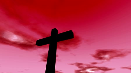 wielkanoc tło : Cross crucifix with time lapse clouds red sky and sun christian rapture Wideo