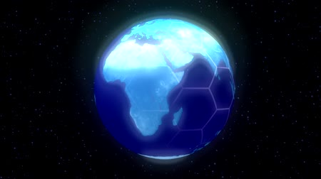 new world : EArt Objectsh planet world high tech display blue Stock Footage