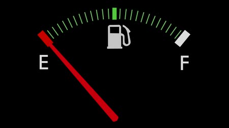 petrol : Fuel gauge full-empty-full car dashboard meter Stock Footage
