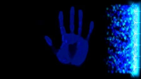 paketleme : Hand scanner handprint fingerprint palm password id blue Stok Video
