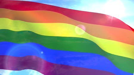 gurur : Gay pride flag waving LGBT lesbian gay bisexual transgender Stok Video