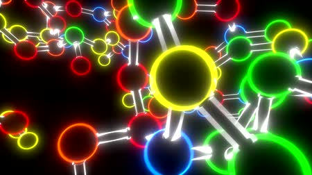 lábio : Molecule neon ball and stick model fly through atoms chemistry biology science Stock Footage