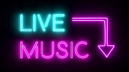 жить : Live music neon sign lights logo text glowing multicolor