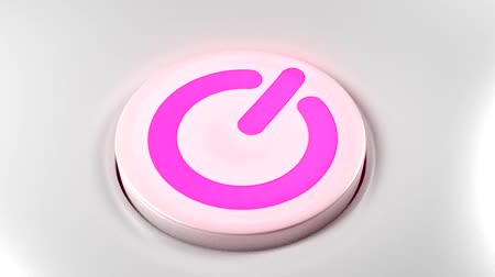 turning off : Power button switch turn off pink purple Stock Footage