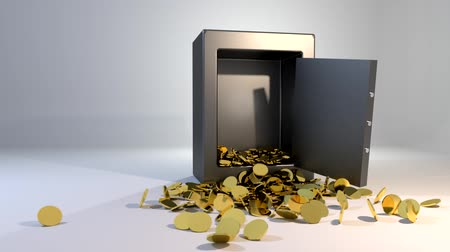 ouro : Safe vault fall spill gold coins falling spilling valuable win land landing