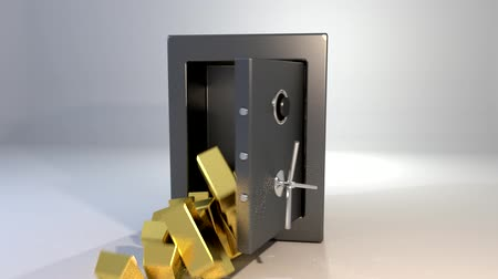 безопасный : Safe vault opening spilling gold bars golden valuable win Стоковые видеозаписи