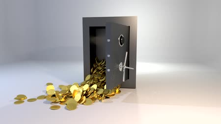 безопасный : Safe vault opening spilling gold coins golden money win Стоковые видеозаписи