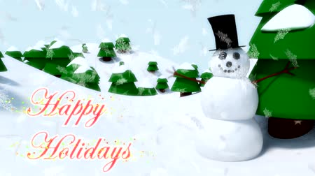 holidays : Snowman Happy Holidays & Events happy waving animation winter snowflakes falling Stock Footage