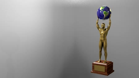 trofej : Trophy award ceremony intro with space for title text nomination gold man globe