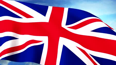 unie : UK Britain Union Jack Flag Closeup Waving Against Blue Sky Seamless Loop CG