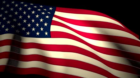 north america : USA US American Flag Closeup Waving Backlit Seamless Loop CG
