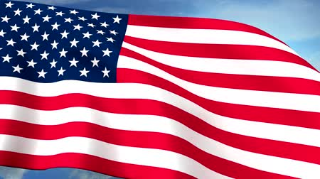 USA US Flags Closeup Waving Against Blue Sky CG Long HQ Seamless Loop Stock Footage