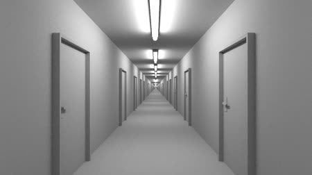 drzwi : Endless white corridor with doors seamless loop