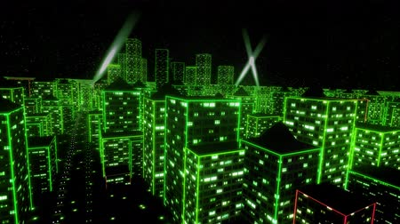 matris : Neon city fly over urban skyscraper glow computer tron matrix 4k