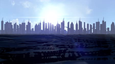 horizon : Cityscape skyline ocean rising sea level silhouette skyscraper future climate 4k