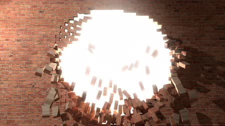 zeď : Brick wall break through escape to white light 4K