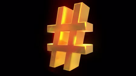 sosyal : Hash tag hashtag rotate tweet social media network post label pound 4k Stok Video