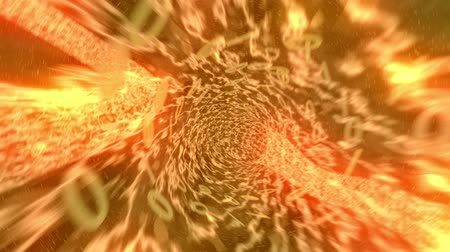 telecoms : Binary tunnel wormhole flight through space warp speed dimension 4k Stock Footage