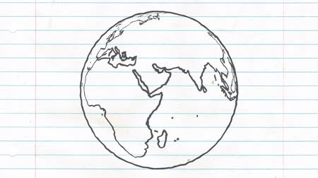 çizmek : Earth drawing paper cartoon hand drawn animation spinning globe world pen loop