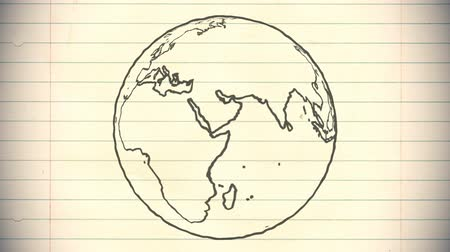 desenhada à mão : Earth drawing paper cartoon hand drawn animation spinning globe world pen loop