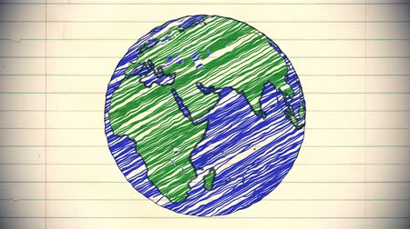 kreslit : Earth drawing paper cartoon hand drawn animation spinning globe world pen loop