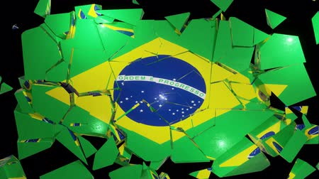 democracia : Brazilian flag collapse brazil 4k