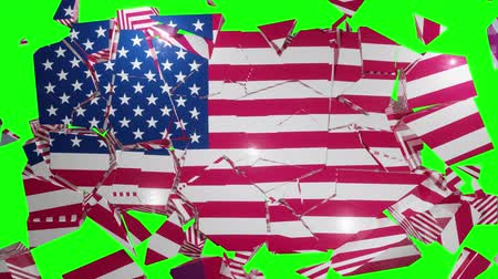 részvények : USA US collapse flag United States of America American 4k