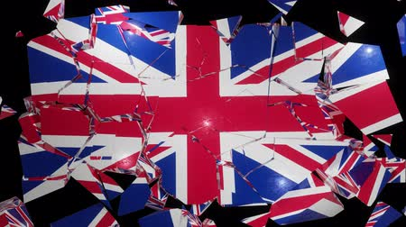 adósság : UK collapse flag Great Britain British England English 4k Stock mozgókép