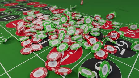 esély : Casino chips fall on roulette table gambling drop win money